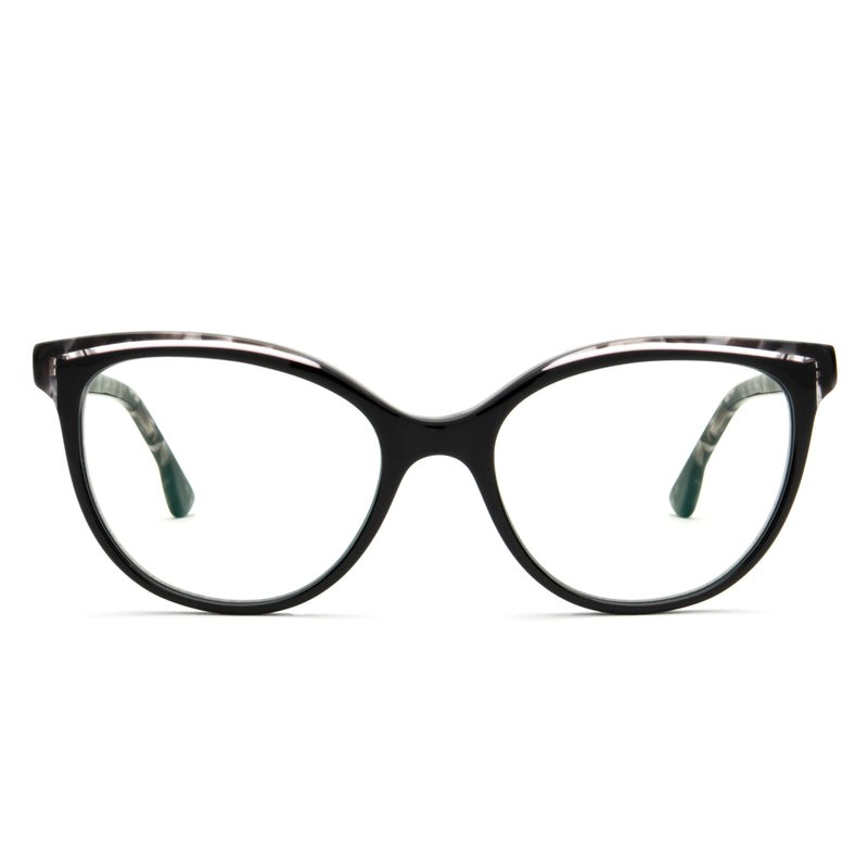 BETZY BLACK DOUBLE BROW CUT-OUT  BLUE LIGHT BLOCKING GLASSES,