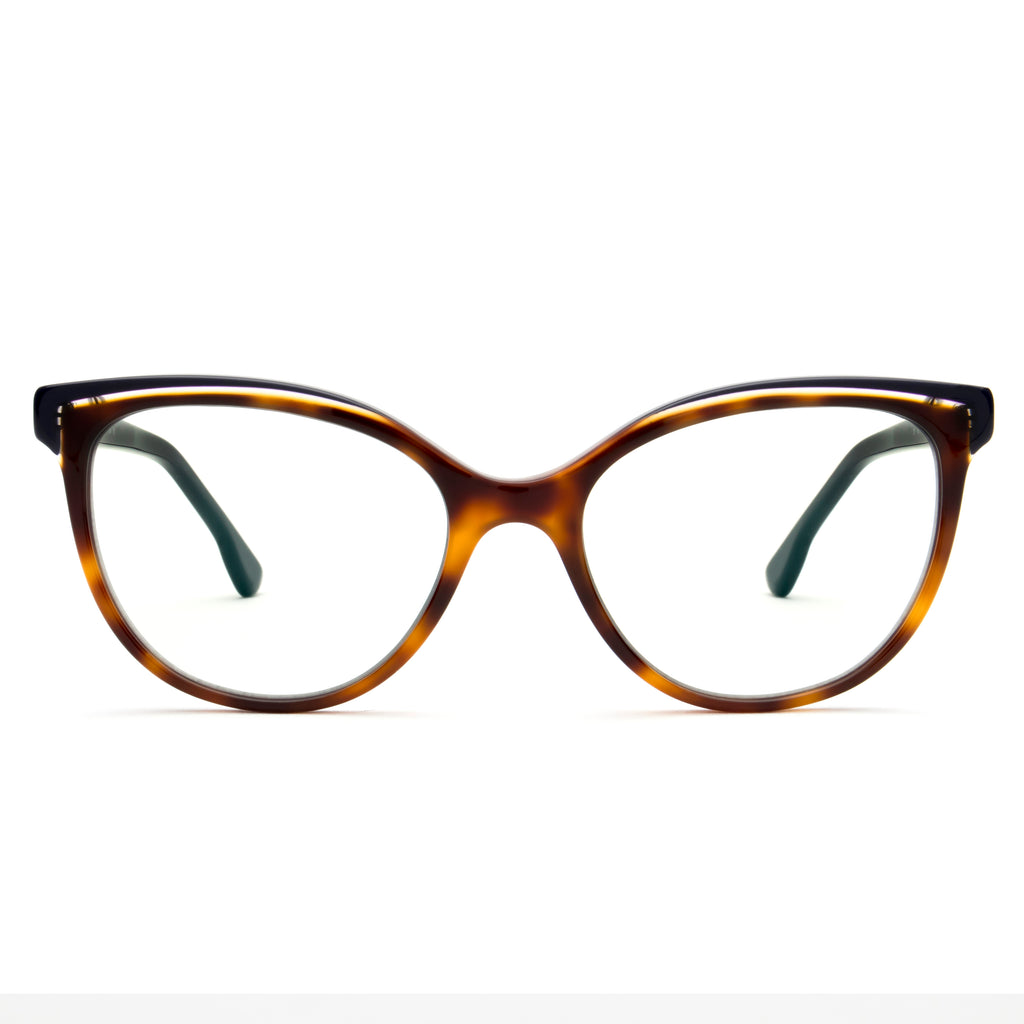 BETZY TORTOISE DOUBLE BROW CUT-OUT BLUE LIGHT BLOCKING GLASSES,