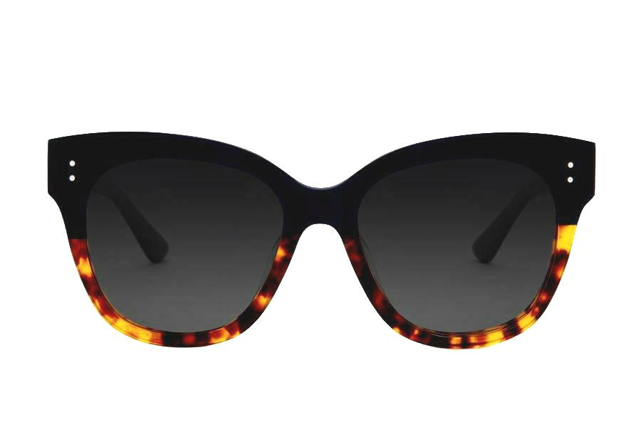 ZOE BLACK/ TORTOISE BOTTOM OVERSIZED SUNGLASSES,