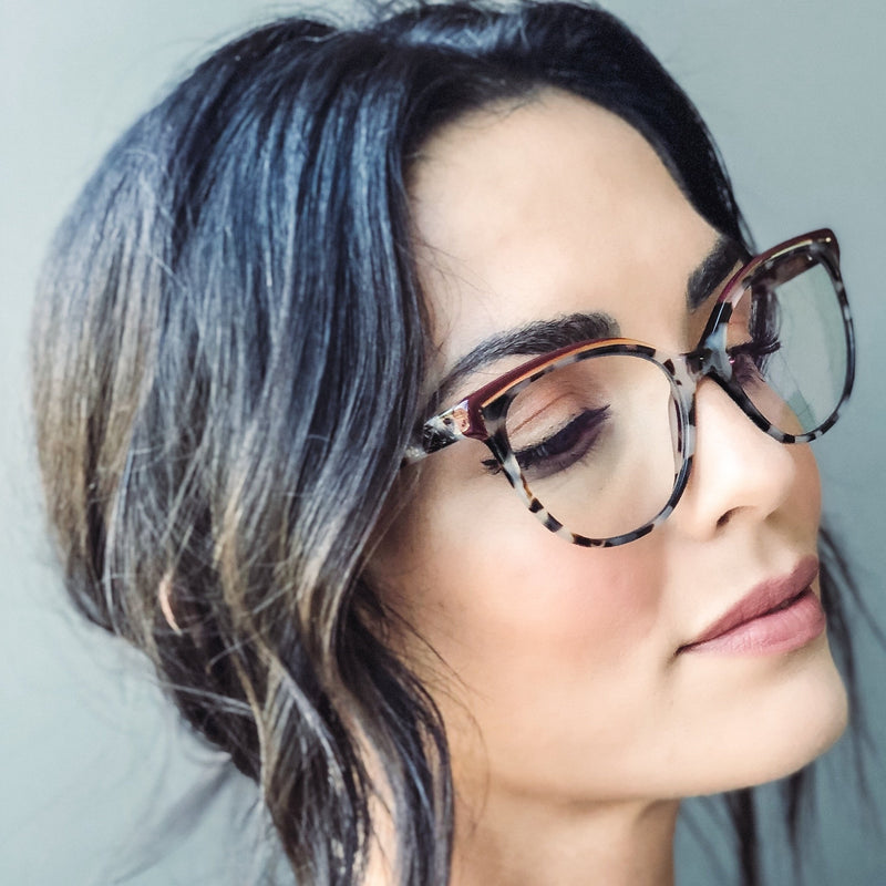 BETZY CHAMPAIGN DOUBLE BROW CUT-OUT BLUE LIGHT BLOCKING GLASSES,
