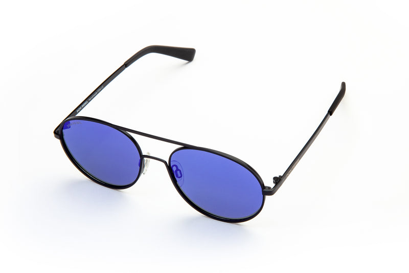 REBEL BLUE ROUND BRIDGE MIRRORED SUNGLASSES,