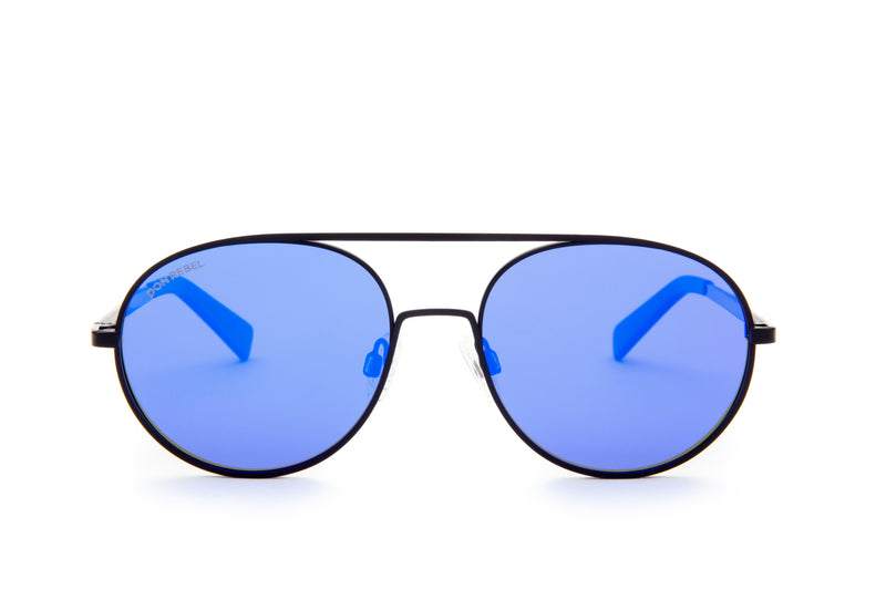 REBEL BLUE ROUND BRIDGE MIRRORED SUNGLASSES - Don Rebel