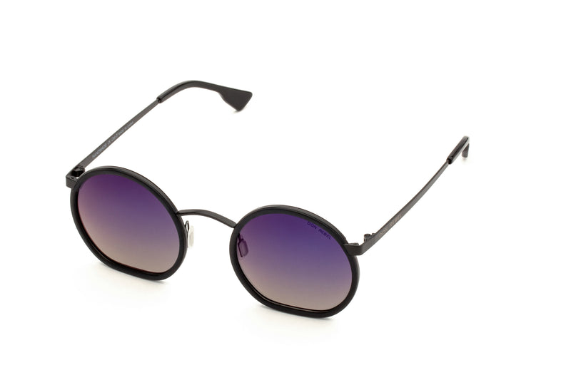 JIMMY BLACK RETRO CIRCLE FLAT BOTTOM SUNGLASSES,
