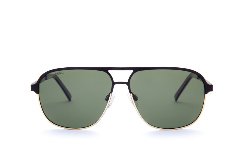 REBEL GUNMETAL ROUND BRIDGE MIRRORED SUNGLASSES