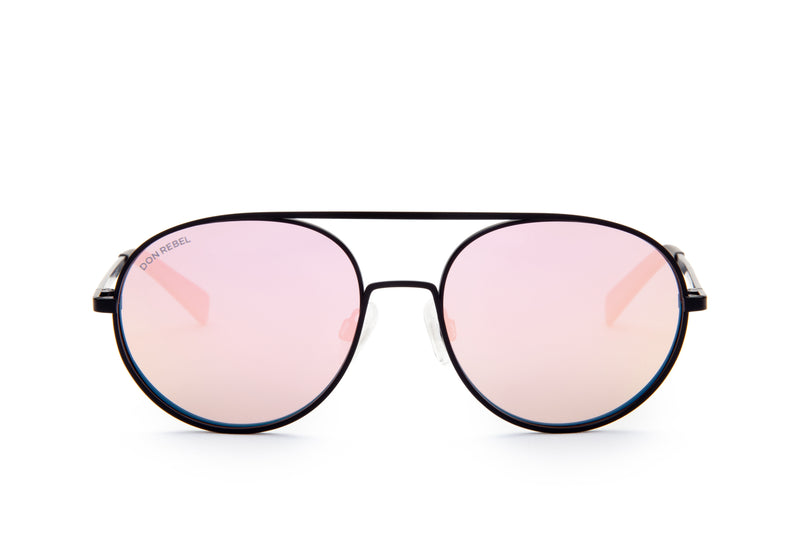 REBEL PINK ROUND BRIDGE MIRRORED SUNGLASSES,