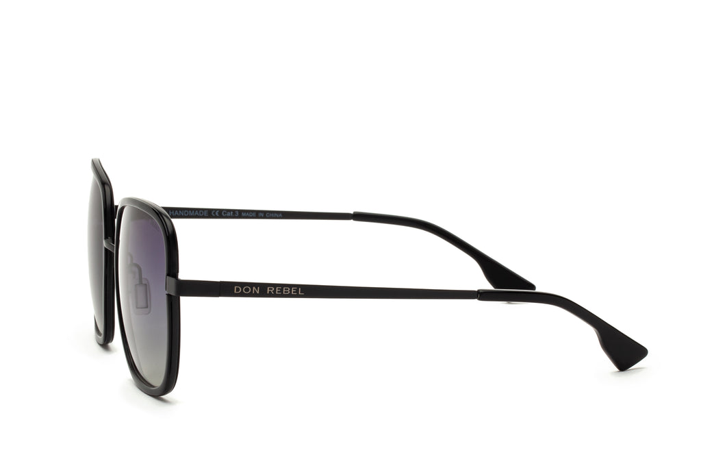 CAREN BLACK OVERSIZED RECTANGULAR SUNGLASSES - Don Rebel