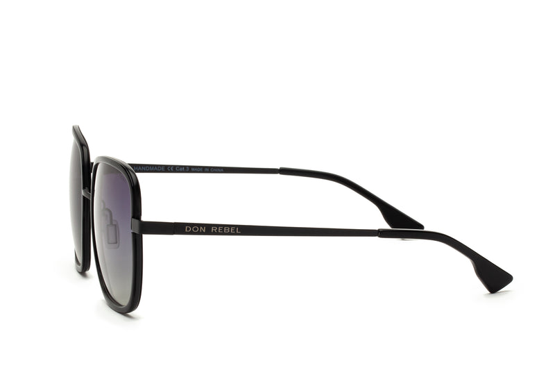 CAREN BLACK OVERSIZED RECTANGULAR SUNGLASSES,