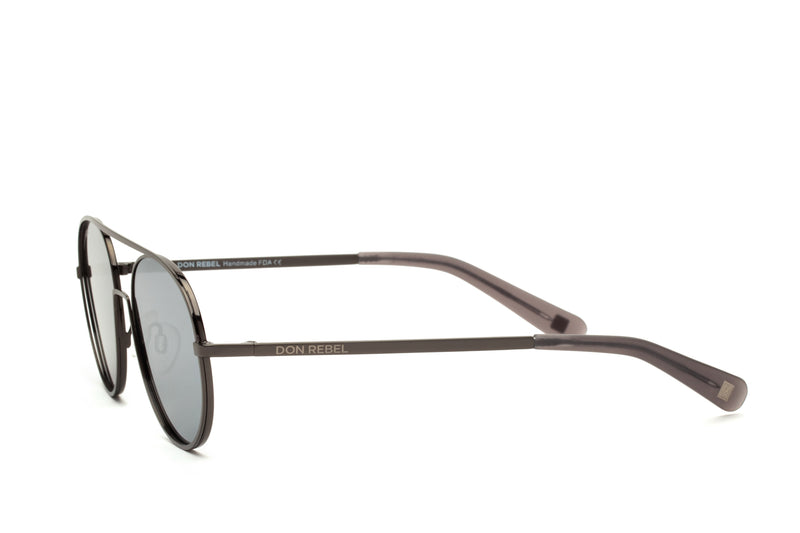 REBEL GUNMETAL ROUND BRIDGE MIRRORED SUNGLASSES,