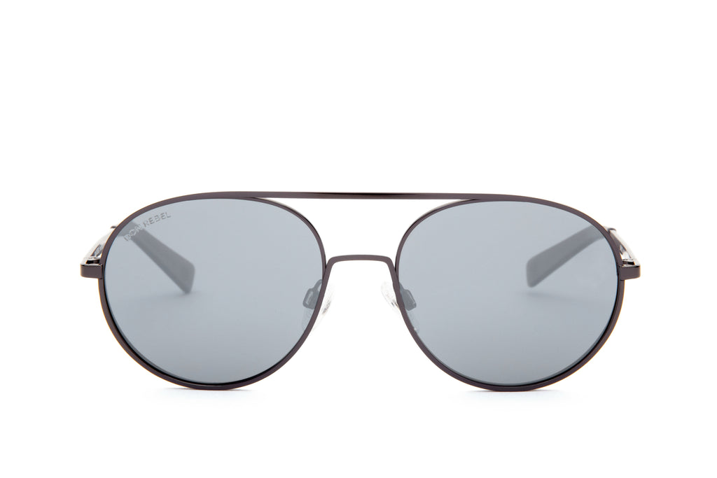 REBEL GUNMETAL ROUND BRIDGE MIRRORED SUNGLASSES - Don Rebel