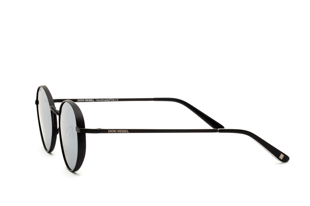 STRUMMER BLACK ROUND FLAT MIRRORED LENSES - Don Rebel