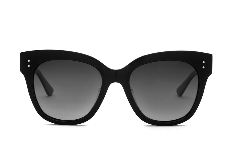 CAREN BLACK OVERSIZED RECTANGULAR SUNGLASSES