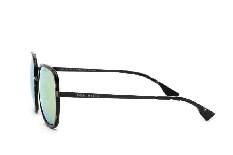 CAREN GOLD LENS OVERSIZED RECTANGULAR SUNGLASSES,