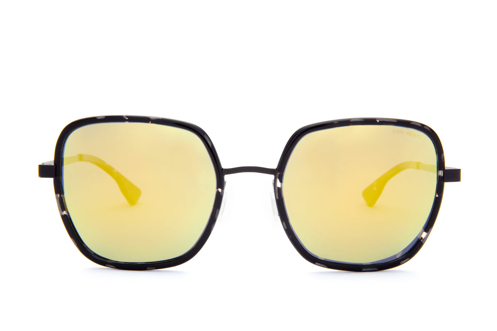 CAREN GOLD LENS OVERSIZED RECTANGULAR SUNGLASSES - Don Rebel