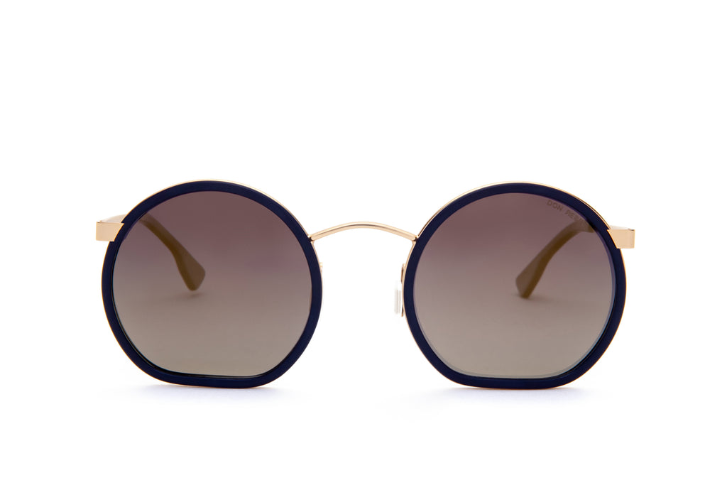 JIMMY NAVY RETRO CIRCLE FLAT BOTTOM SUNGLASSES,