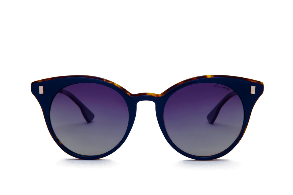 MEMPHIS NAVY BLUE CAT EYE SUNGLASSES POLARIZED,