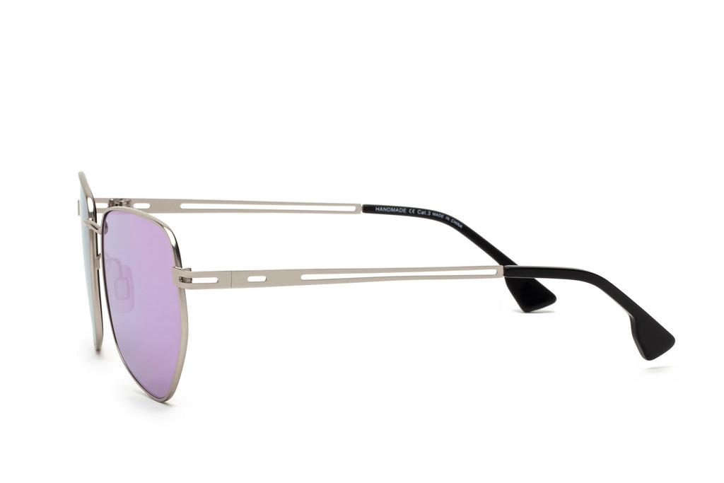 JAGGER PURPLE ROUNDED PENTAGONAL FLASH SUNGLASSES,