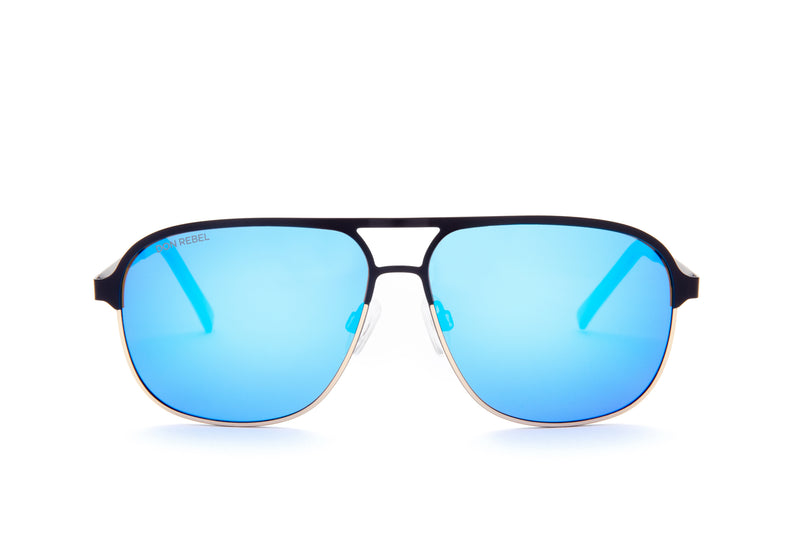 REBEL BLACK ROUND BRIDGE MIRRORED SUNGLASSES