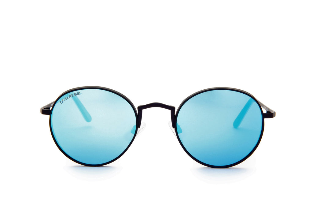 STRUMMER BLUE ROUND FLAT MIRRORED LENSES - Don Rebel