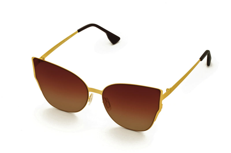 MARIAH BROWN OVER SIZED CAT EYE SUNGLASSES,