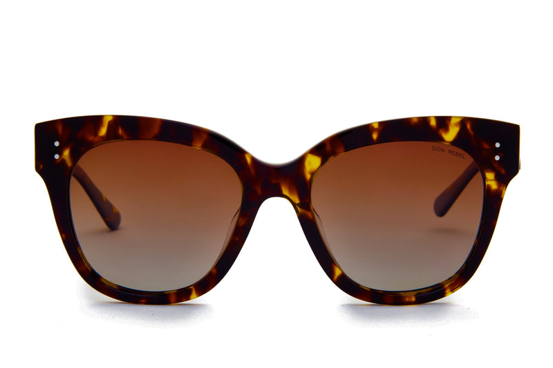 MEMPHIS BROWN GRADIENT BOLD CAT EYE SUNGLASSES POLARIZED