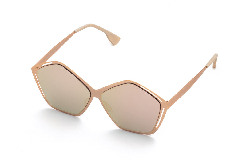 JANIS PINK PENTAGON SHAPED MIRRORED SUNGLASSES,