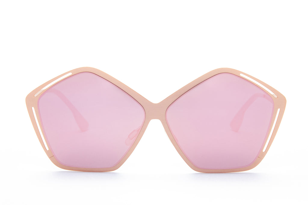 JANIS PINK PENTAGON SHAPED MIRRORED SUNGLASSES - Don Rebel
