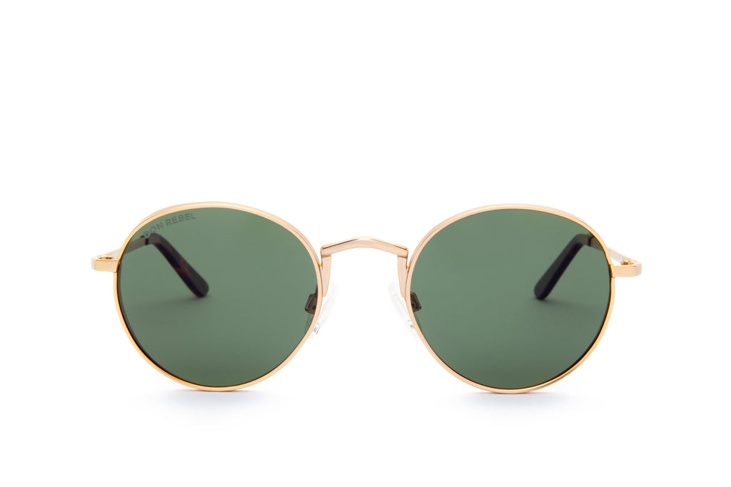 STRUMMER GREEN ROUND FLAT MIRRORED LENSES - Don Rebel