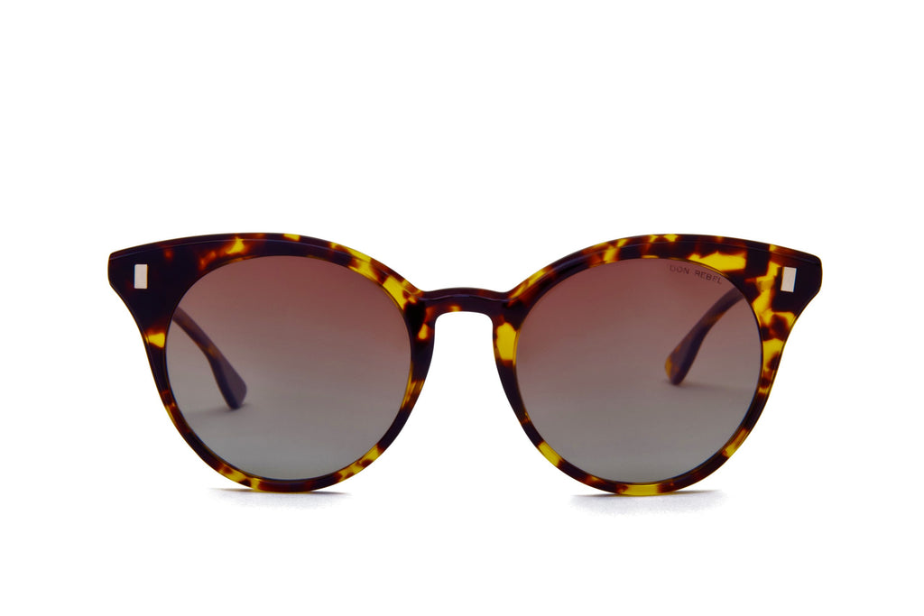 MEMPHIS BROWN GRADIENT BOLD CAT EYE SUNGLASSES POLARIZED - Don Rebel