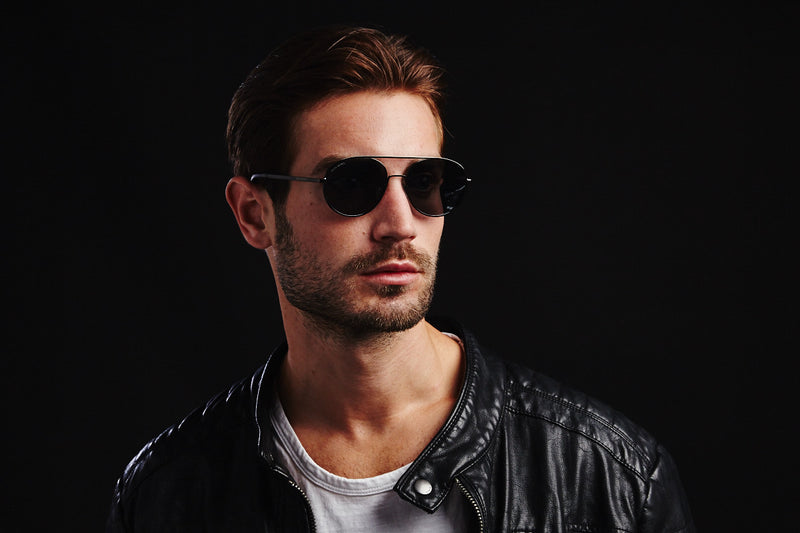 REBEL BLACK ROUND BRIDGE MIRRORED SUNGLASSES,