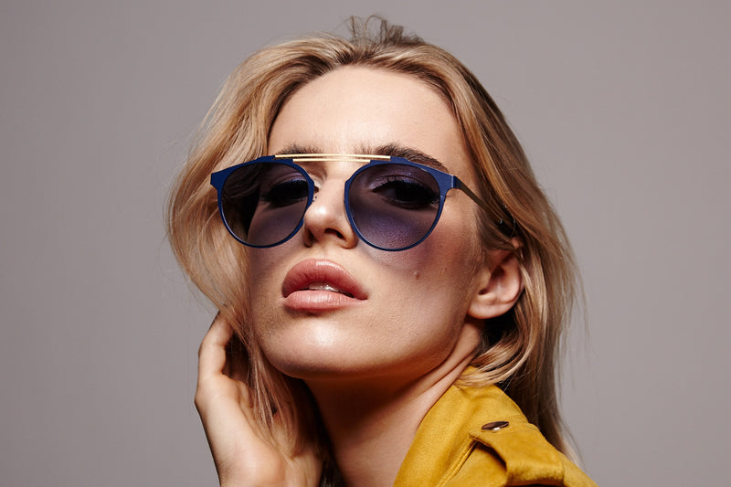 DECO BLUE DOUBLE BRIDGE SUNGLASSES,