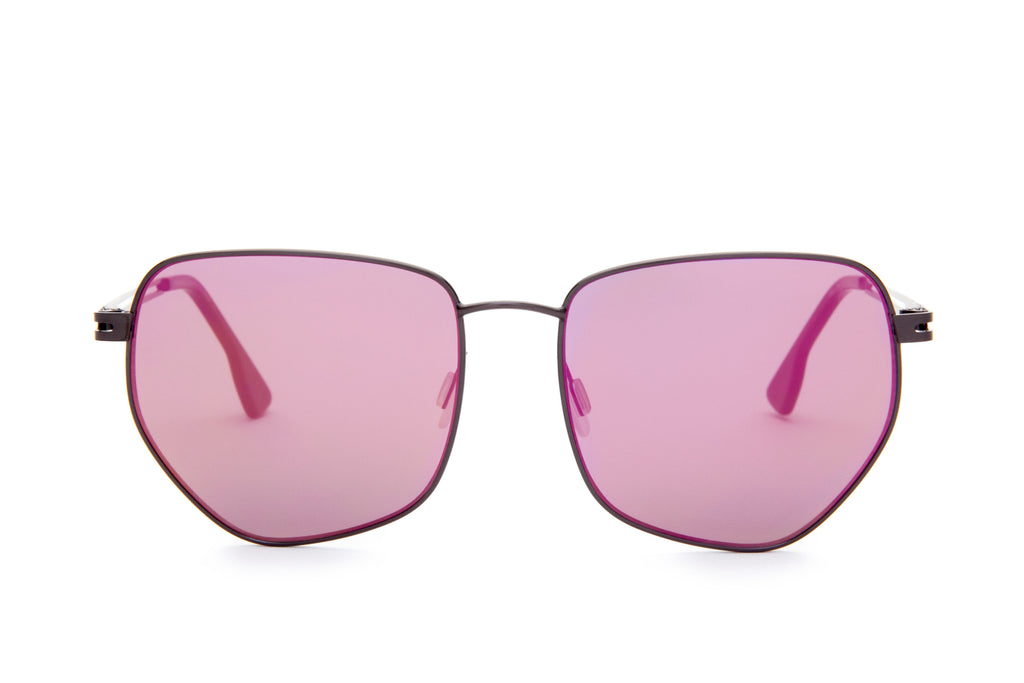 JAGGER PINK ROUNDED PENTAGONAL FLASH SUNGLASSES,