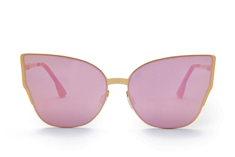 JAGGER PINK ROUNDED PENTAGONAL FLASH SUNGLASSES