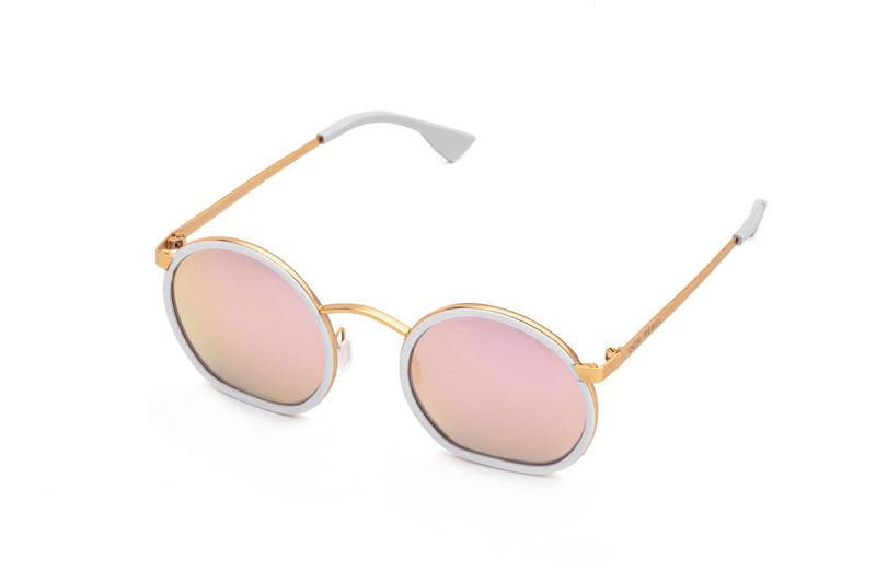 JIMMY PINK RETRO CIRCLE FLAT BOTTOM SUNGLASSES,