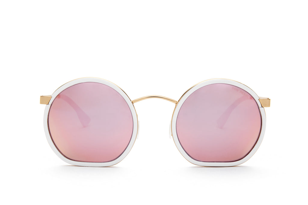 JIMMY PINK RETRO CIRCLE FLAT BOTTOM SUNGLASSES - Don Rebel