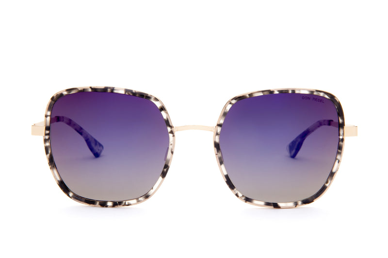 CAREN PRINTED PURPLE OVERSIZED RECTANGULAR SUNGLASSES,