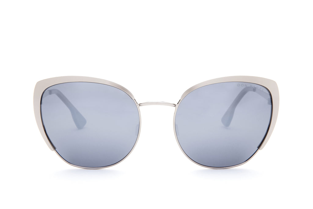 BEV SILVER CAT EYE MIRRORED SUNGLASSES,