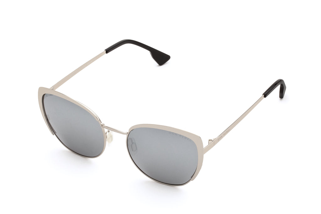BEV SILVER CAT EYE MIRRORED SUNGLASSES - Don Rebel