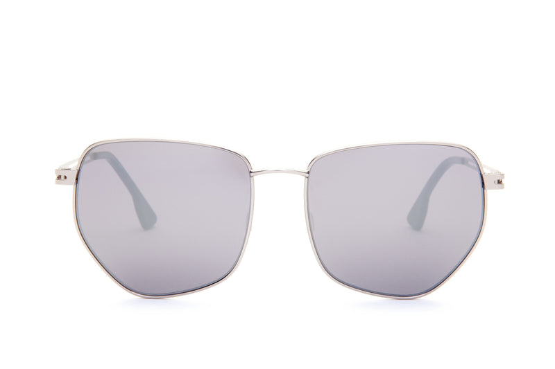 JANIS GREY PENTAGON SHAPED MIRRORED SUNGLASSES
