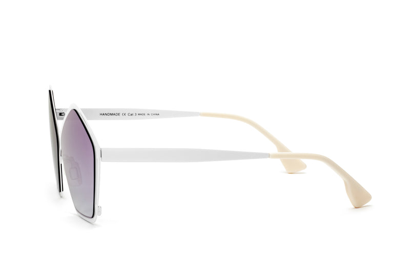 JANIS MULTI-COLORED PENTAGON SHAPED MIRRORED SUNGLASSES,