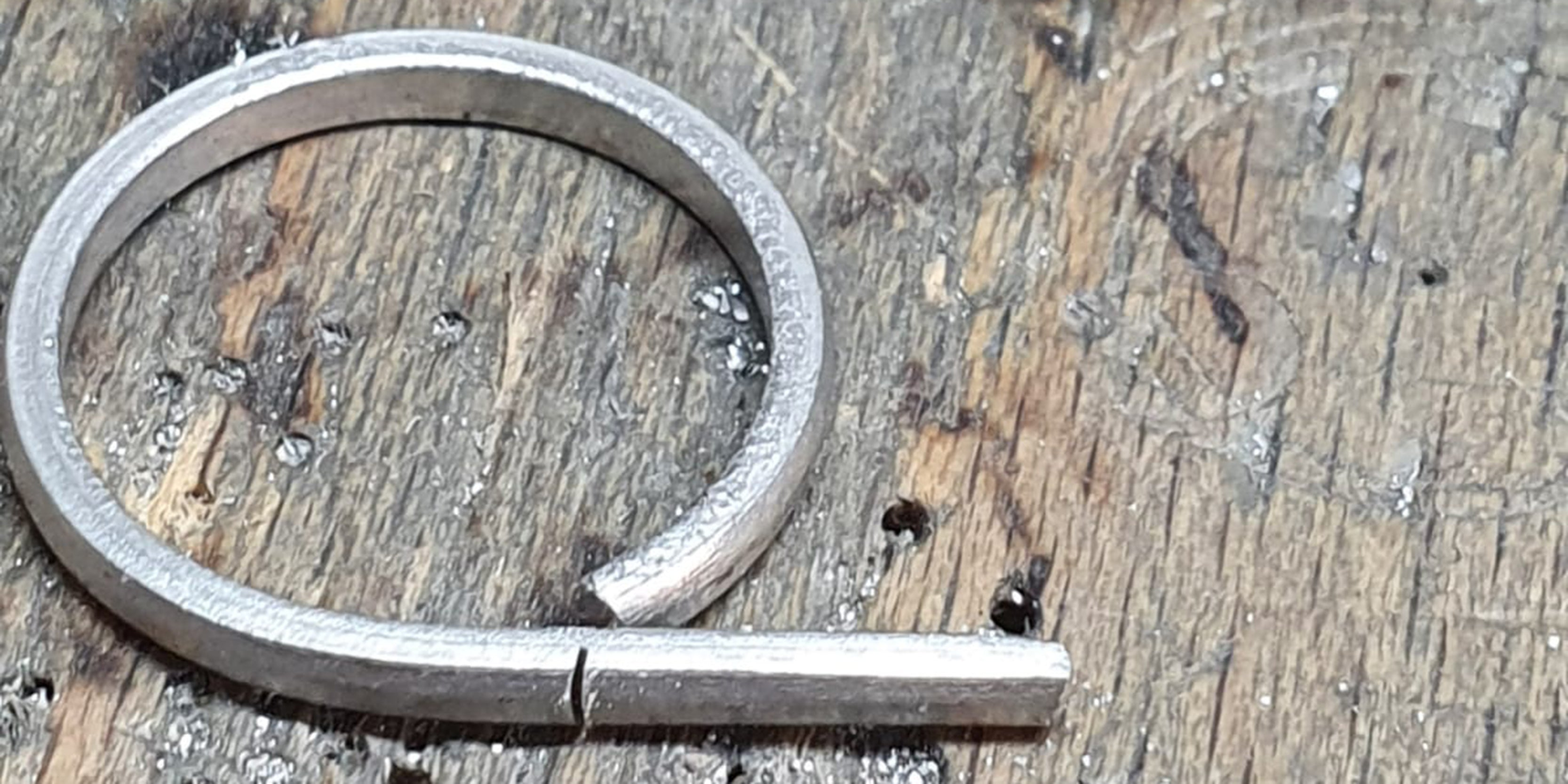 Bending up platinum to make remodelled ring by Amanda Mansell bespoke
