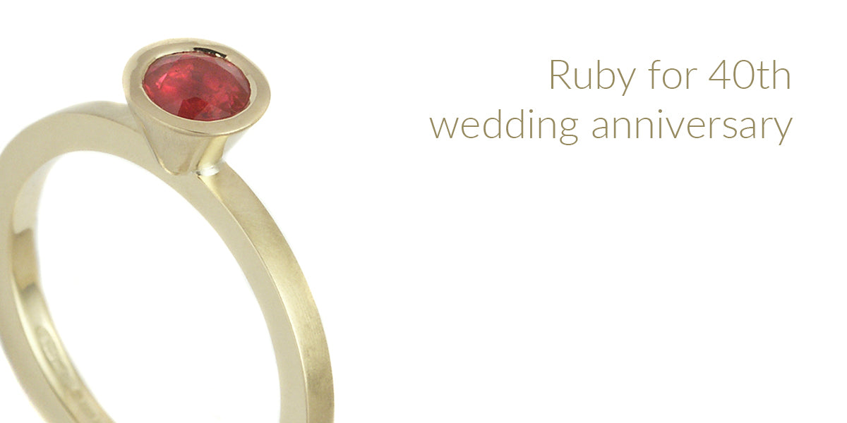18ct yellow gold ruby ring 40th wedding anniversary