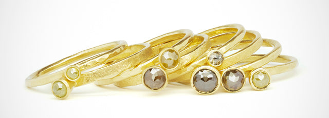 18ct yellow gold rose cut diamond stack rings by Amanda Mansell