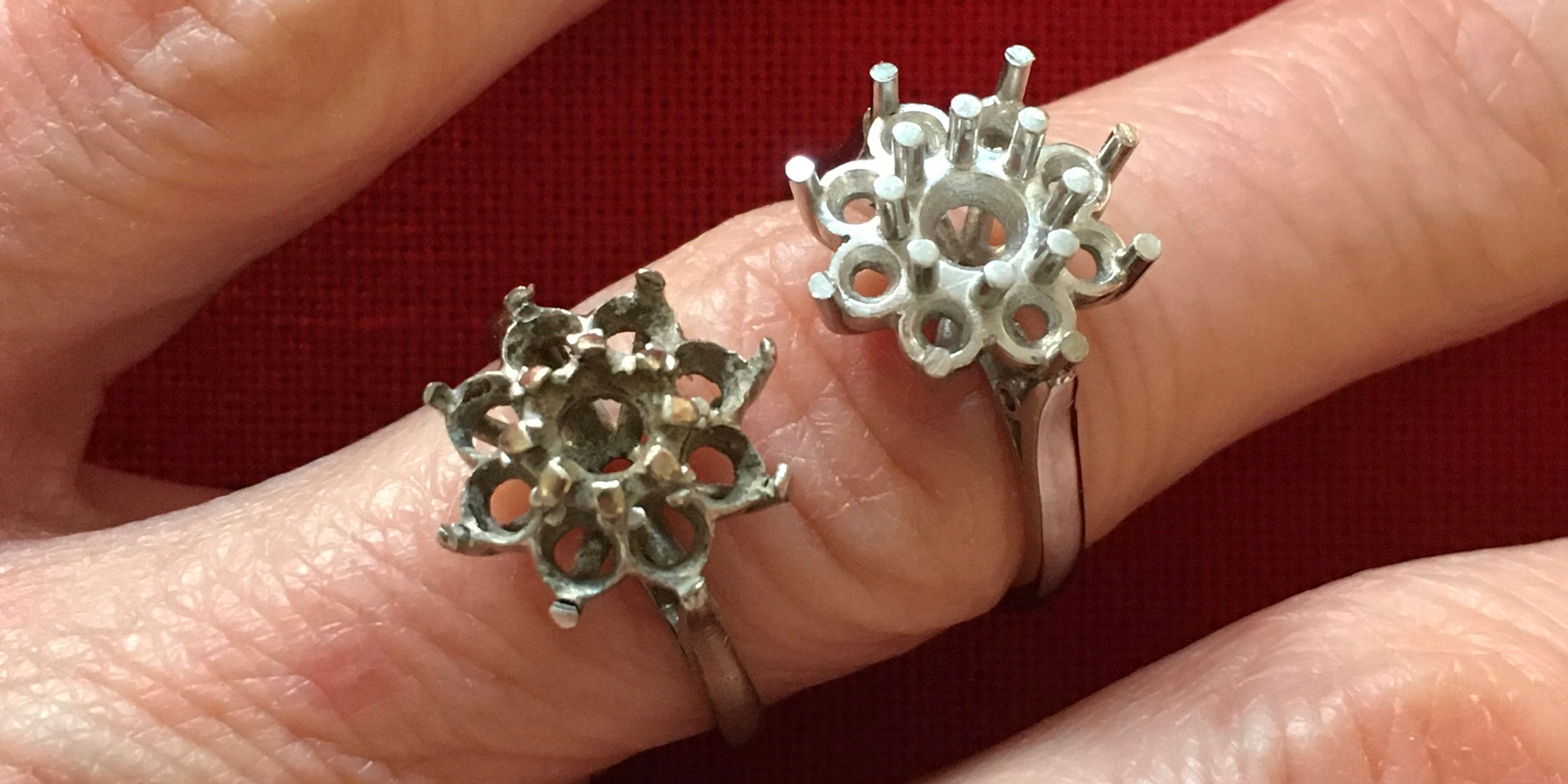 Handmade bespoke remodelled platinum cluster ring made by Amanda Mansell