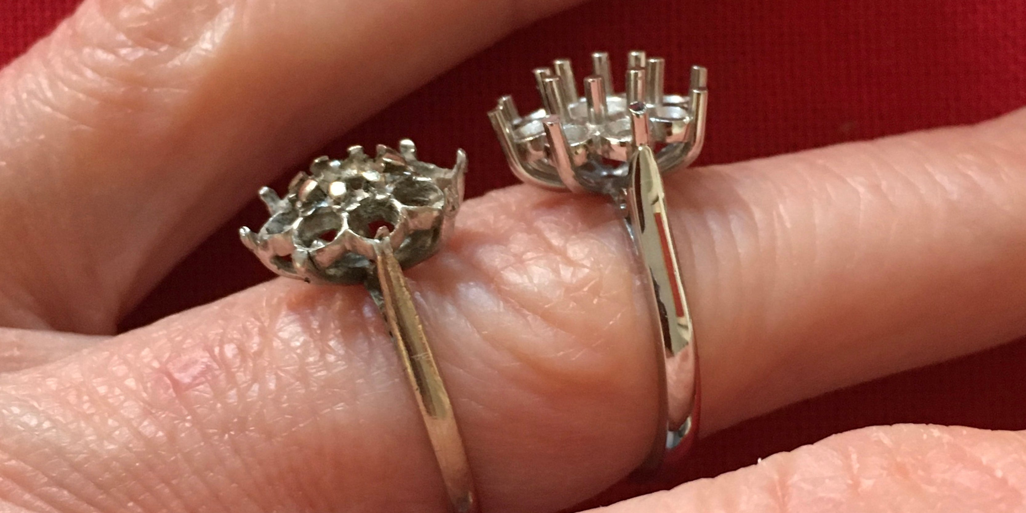 Handmade bespoke platinum cluster ring compared to old one by Amanda Mansell