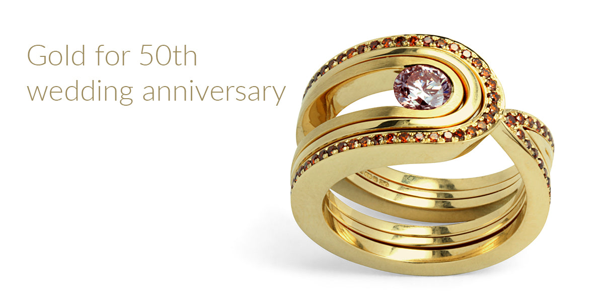 Amanda Mansell bespoke ring 50th anniversary gold ring
