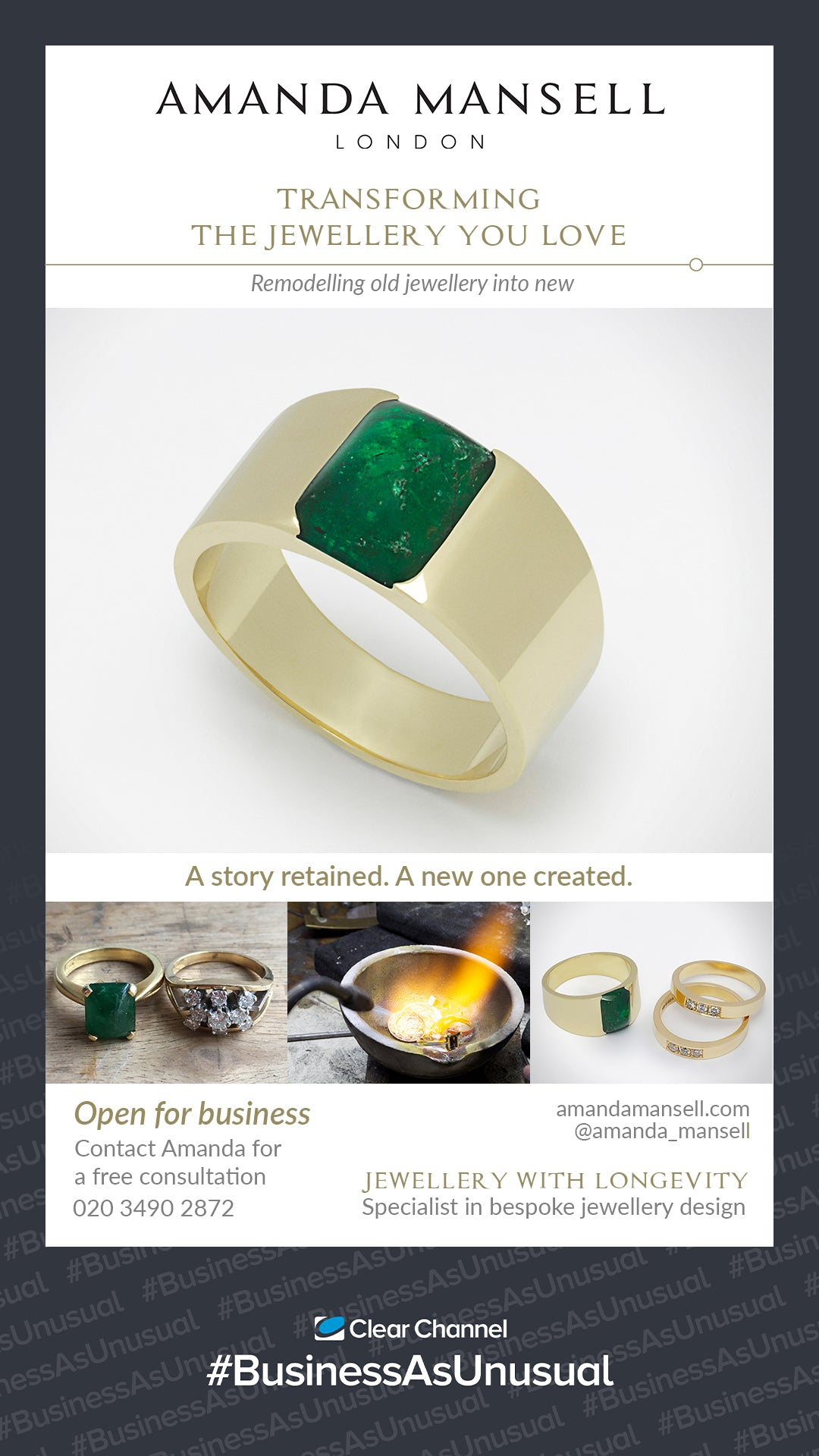 #BusinessAsUsual advert for bespoke jewellery remodelling. Emerald and 18ct yellow gold ring
