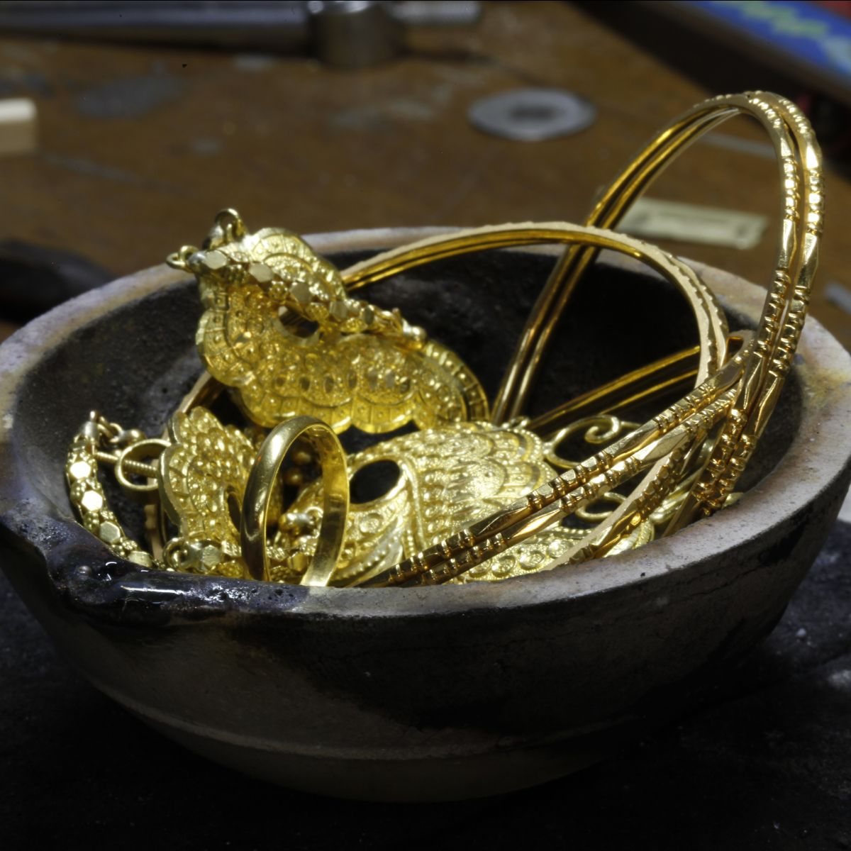 jewellery in crucible