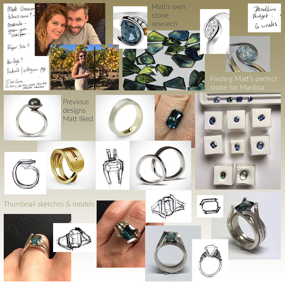 Matts bespoke engagement ring design inspiration board
