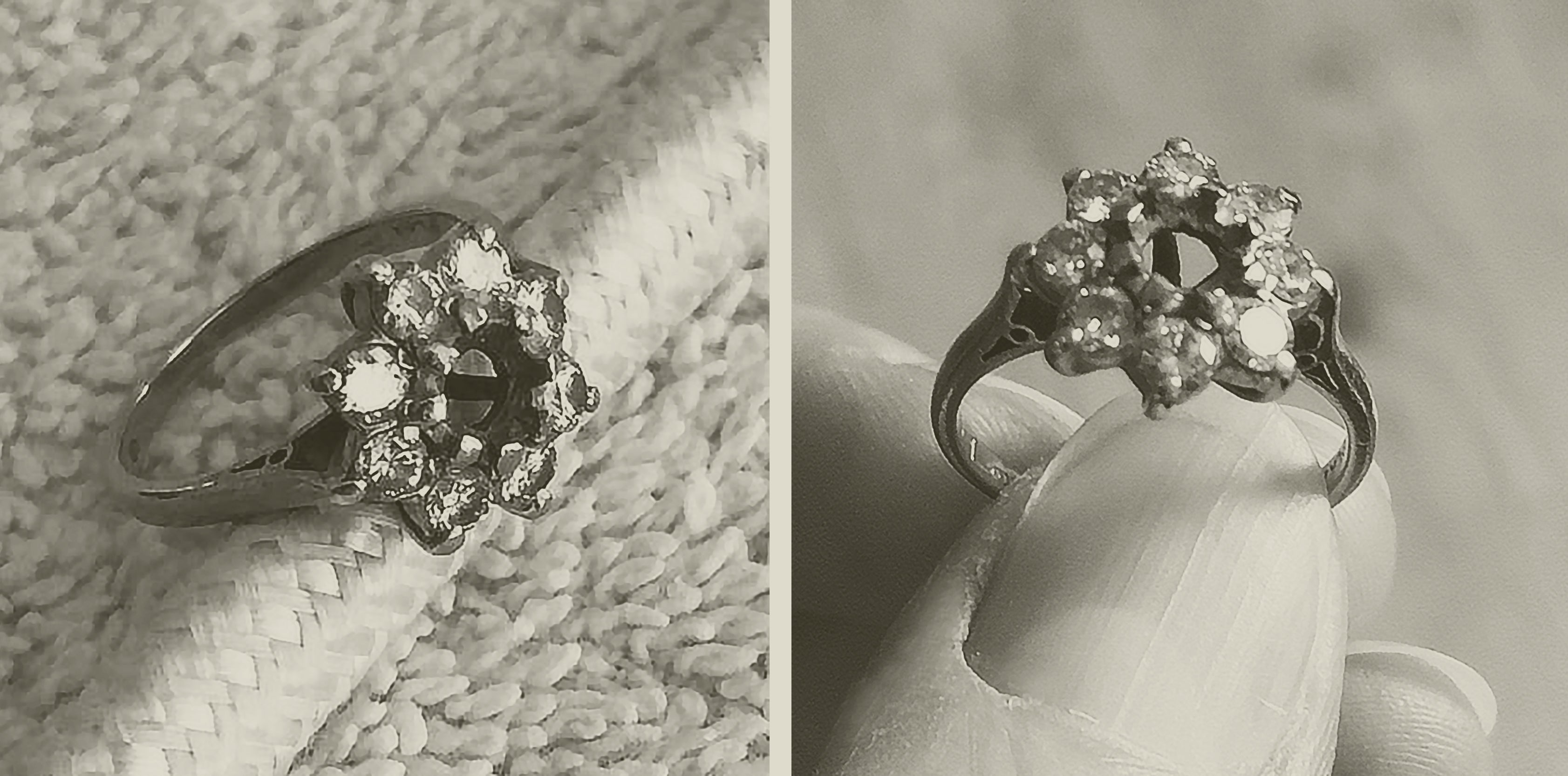 The story so far ~ Rosie's remodeled 'twinkly' ring