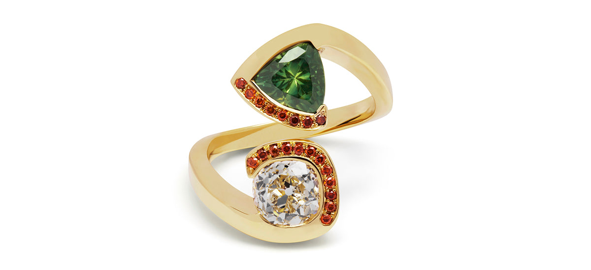 18ct yellow gold, diamond and green sapphire engagement ring